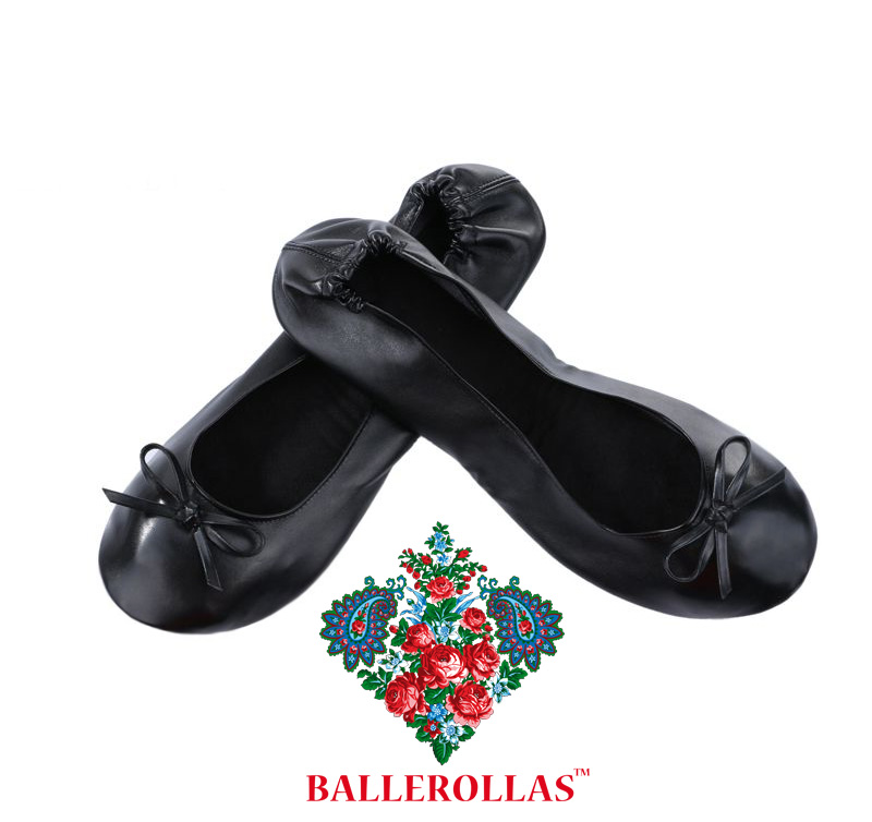 foldable ballerinas flats black